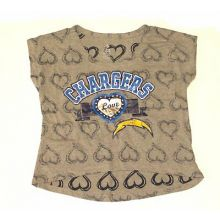 NFL Licensed San Diego Chargers Girls Jeweled Cap Sleeve Shirt