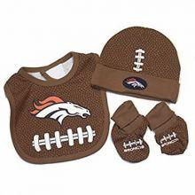 NFL Officially Licensed Denver Broncos Infant Headwear, Bib and Booties Set (0-6