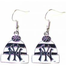 New York Yankees Beaded Hoop Dangle Earrings