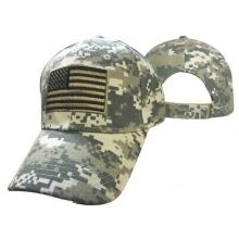 American Flag Tactical Camo Hat Cap With Tan Patch