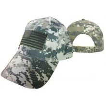 American Flag Tactical Camo Hat Cap With Green Patch