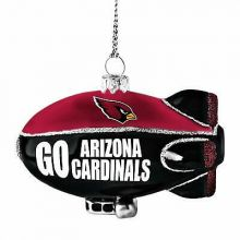 Arizona Cardinals Blown Glass Glitter Blimp Ornament