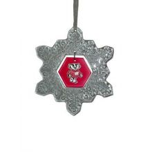 Wisconsin Badgers Glass Snowflake Ornament