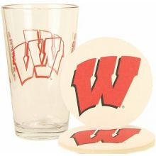 Wisconsin Badgers Pint and Coaster Set