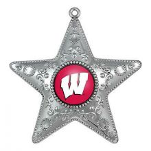 "Wisconsin Badgers 4"" Silver Star Ornament"
