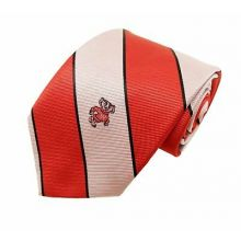 NCAA Officially Licensed Wisconsin Badgers Wide Striped Silk Necktie