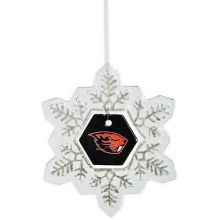 Oregon State Beavers Glass Snowflake Ornament