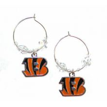 Cincinnati Bengals Beaded Hoop Earrings