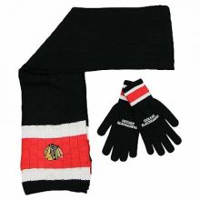Chicago Blackhawks Cold Weather Knit Scarf and Glove Set