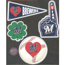 Milwaukee Brewers 4 Piece Magnet Set