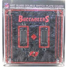 Tampa Bay Buccaneers Art Glass Double Switch Plate Cover