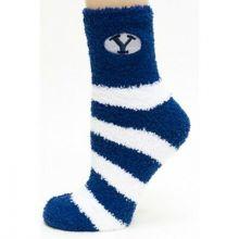 Brigham Young BYU Striped Fuzzy Lounge Socks