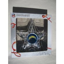 """Los Angeles Chargers 4"""" Silver Star Ornament"""