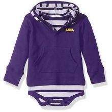LSU Tigers Infant Striped Hooded Bodysuit