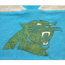 NFL Officially Licensed Carolina Panthers Green Glitter Logo Long Sleeve Girls V