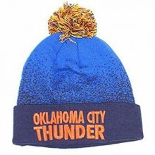 Oklahoma City Thunder Mitchell & Ness Speckled Navy Blue Cuffed Pom Beanie