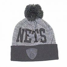 Brooklyn Nets Mitchell & Ness Black Gray Team Name Cuffed Pom Beanie Hat Cap Lid