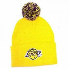 NBA Officially Licensed Los Angeles Lakers Yellow Cuffed Pom Beanie Hat Cap Lid