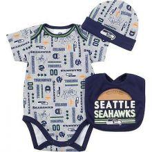 Seattle Seahawks  Infant Bodysuit, Bib and Cap Set 3-6 Months
