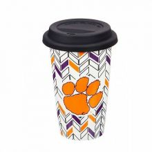 Clemson Tigers Personalizable Ceramic Travel Coffee Mug, 10 ounces, with Team Co