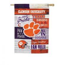 Clemson Tigers Vertical Linen Fan Rules Garden Flag