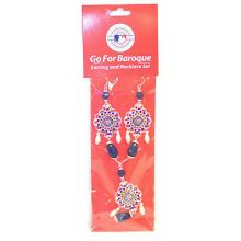 Chicago Cubs Baroque Necklace and Earring Set