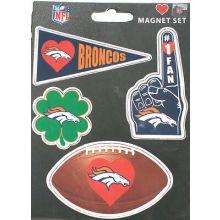 Denver Broncos 4 Piece Magnet Set