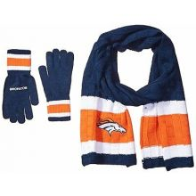 Denver Broncos Cold Weather Knit Scarf and Glove Set