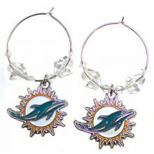 Miami Dolphins Beaded Hoop Earrings