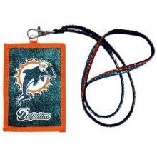 Miami Dolphins Beaded Lanyard I.D. Wallet