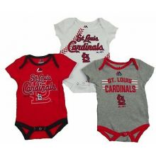 MLB Licensed St. Louis Cardinals 3 Piece Infant Baby Bodysuit Creeper Crawler Se