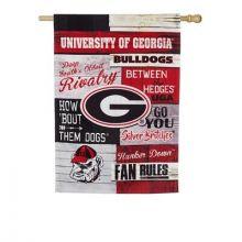 Georgia Bulldogs Vertical Linen Fan Rules Garden Flag