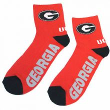 Georgia Bulldogs Red Quarter Socks