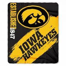 Iowa Hawkeyes Established Fleece Throw Blanket