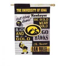 Iowa Hawkeyes Vertical Linen Fan Rules House Flag