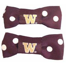 Washington Huskies Bow Pigtail Holders