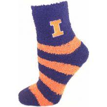 Illinios Fighting Illini Striped Fuzzy Lounge Socks