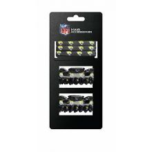 Jacksonville Jaguars Hair Accessory 2-Hair Clips and 3-Elastic Ponytail Bands