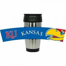 Kansas Jayhawks Stainless Steel Travel Tumbler with 3D Logo Wrap, 15-Ounce