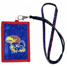 Kansas Jayhawks Beaded Lanyard I.D. Wallet
