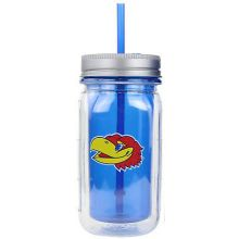Kansas Jayhawks Cool Gear 16 oz  Double Wall Mason Jar Tumbler with Straw