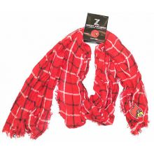 NCAA Licensed Louisville Cardinals Plaid Oblong Scarf