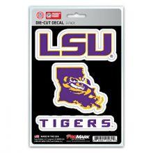 LSU Tigers 3 Pack Die Cut Team Decals