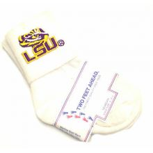 LSU Tigers Infant Embroidered Cuffed Socks Size 4-5