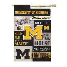 Michigan Wolverines Vertical Linen Fan Rules Garden Flag