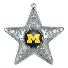 "Michigan Wolverines 4"" Silver Star Ornament"