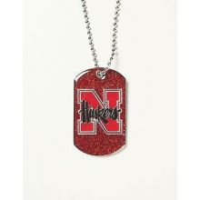 Nebraska Cornhuskers Glitter Dog Tag Necklace