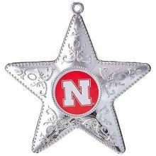 "Nebraska Cornhuskers 4"" Silver Star Ornament"