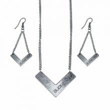 Ohio State Buckeyes Chevron Necklace and Earrings Set