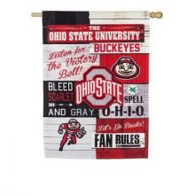 Ohio State Buckeyes Vertical Linen Fan Rules Garden Flag